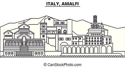 Italy, Amalfi line skyline vector illustration. Italy, ...