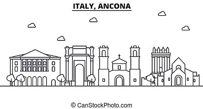 Italy, Ancona architecture line skyline illustration. Linear vector cityscape with famous landmarks, city sights, design icons. Landscape wtih editable strokes