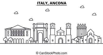 Italy, Ancona architecture line skyline illustration. Linear...