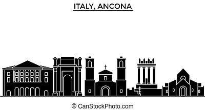 Italy, Ancona architecture vector city skyline, travel...