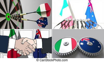 Italy and Australia cooperation. Conceptual animation...
