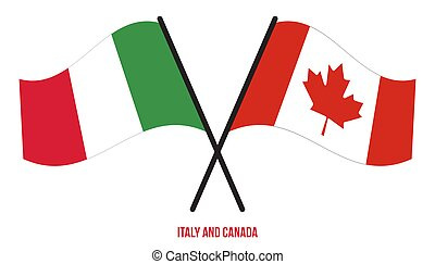Italy and Canada Flags Crossed And Waving Flat Style. Official Proportion. Correct Colors