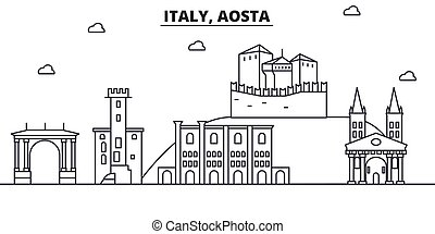 Italy, Aosta architecture line skyline illustration. Linear vector cityscape with famous landmarks, city sights, design icons. Landscape wtih editable strokes