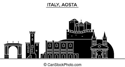 Italy, Aosta architecture vector city skyline, travel cityscape with landmarks, buildings, isolated sights on background