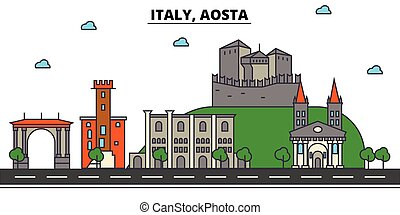 Italy, Aosta. City skyline architecture, buildings, streets,...