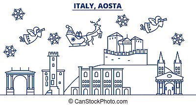 Italy, Aosta winter city skyline. Merry Christmas, Happy New...