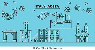 Italy, Aosta winter holidays skyline. Merry Christmas, Happy...