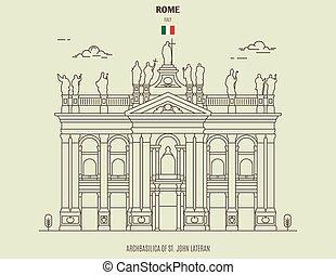 italy., archbasilica, ρώμη , διακριτικό σημείο , γιάννηs , εικόνα , lateran, st.