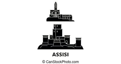 Italy, Assisi flat travel skyline set. Italy, Assisi black...