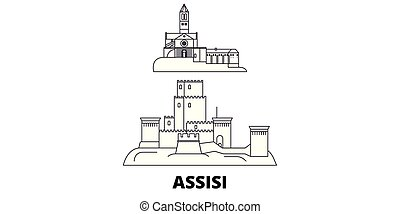 Italy, Assisi line travel skyline set. Italy, Assisi outline...