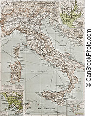 Italy at the end of 19th century with Naples and Rome areas...