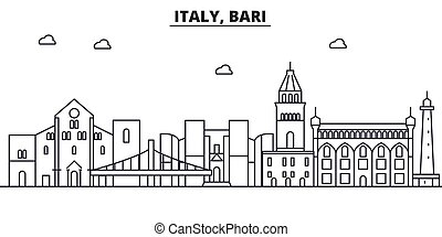 Italy, Bari architecture line skyline illustration. Linear...