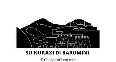Italy, Barumini, Su Nuraxi Di Barumini flat travel skyline...