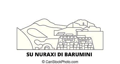 Italy, Barumini, Su Nuraxi Di Barumini line travel skyline...