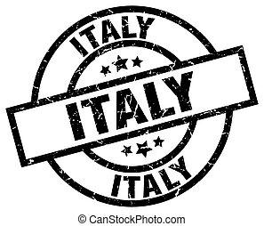 Italy black round grunge stamp