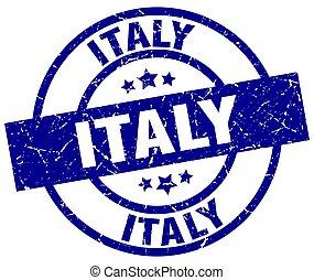 Italy blue round grunge stamp