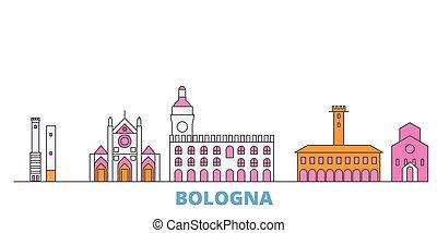 Italy, Bologna cityscape line vector. Travel flat city landmark, oultine illustration, line world icons