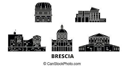 Italy, Brescia flat travel skyline set. Italy, Brescia black...