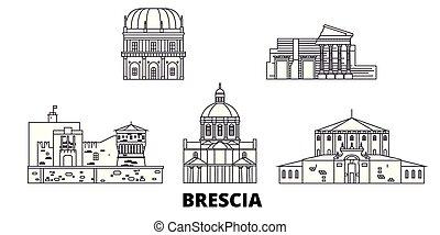 Italy, Brescia line travel skyline set. Italy, Brescia...