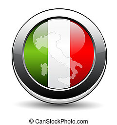 Italy button with flag