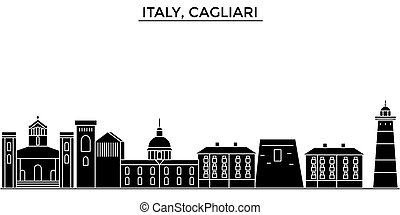 Italy, Cagliari architecture vector city skyline, travel...