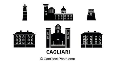 Italy, Cagliari flat travel skyline set. Italy, Cagliari...