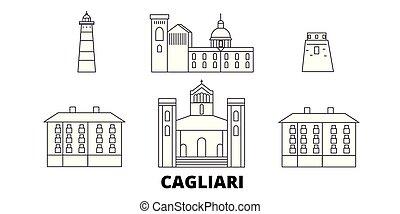 Italy, Cagliari line travel skyline set. Italy, Cagliari...