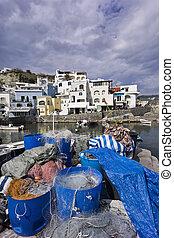 ITALY, Campania, Ischia island, S.Angelo, fishermen nets at S.Angelo