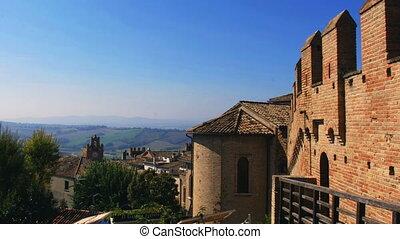 italy castle hill landscape in Gradara italian medieval countryside village