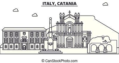 Italy, Catania line skyline vector illustration. Italy,...