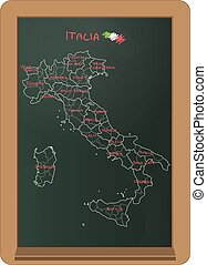 Italy chalkboard - illustration of italy chart boarder on...