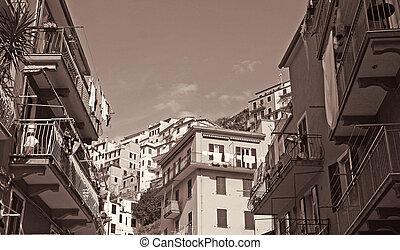 Italy. Cinque Terre. Manarola. In Sepia toned. Retro style -...
