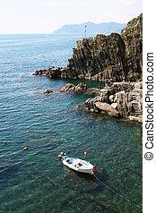 Italy. Cinque Terre. Riomaggiore village. Coastline