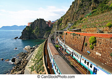 Italy. Cinque Terre. Train at station Manarola