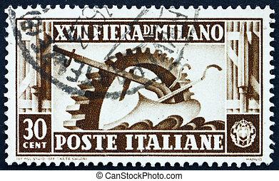 ITALY - CIRCA 1936: a stamp printed in the Italy shows Cogwheel and Plow, 17th Milan Trade Fair, circa 1936