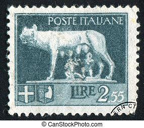 Wolf Suckling Romulus and Remus - ITALY - CIRCA 1945: stamp ...