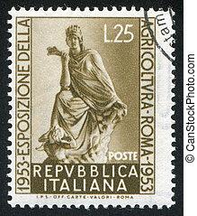 Goddess of Fotune Tyche - ITALY - CIRCA 1953: stamp printed...