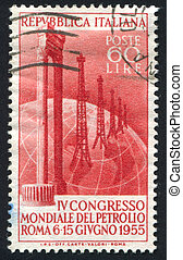 Marble columns and oil field on globe