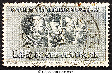 ITALY - CIRCA 1959: a stamp printed in the Italy shows Victor Emanuel II, Garibaldi, Cavour, Mazzini, Centenary of the War of Independence, circa 1959