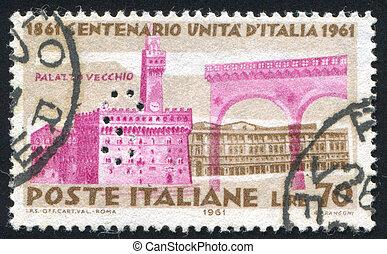 Palazzo Vecchio in Florence - ITALY - CIRCA 1961: stamp...