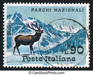 Ortler Mountains - ITALY - CIRCA 1967: stamp printed by ...
