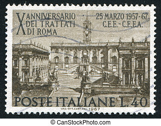 Parliament on Capitoline Hill - ITALY - CIRCA 1967: stamp ...