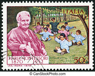 ITALY - CIRCA 1970: A stamp printed in Italy shows Dr. Maria...