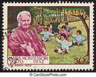 Dr. Maria Montessori - ITALY - CIRCA 1970: a stamp printed ...