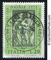 Angels by Agostino di Duccio - ITALY - CIRCA 1973: stamp ...