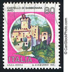 ITALY - CIRCA 1981: stamp printed by Italy, shows castle, Sabbionara, Avio, circa 1981