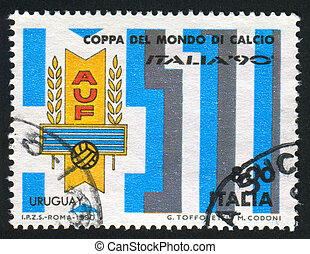 ITALY - CIRCA 1990: stamp printed by Italy, shows World Cup Soccer Championships, Uruguay, circa 1990