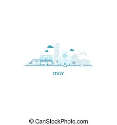 Italy cityscape silhouette in blue colors