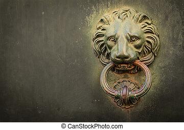 Italy: Close up of rustic old door