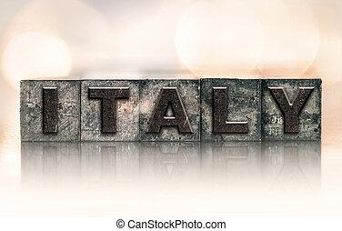 Italy Concept Vintage Letterpress Type